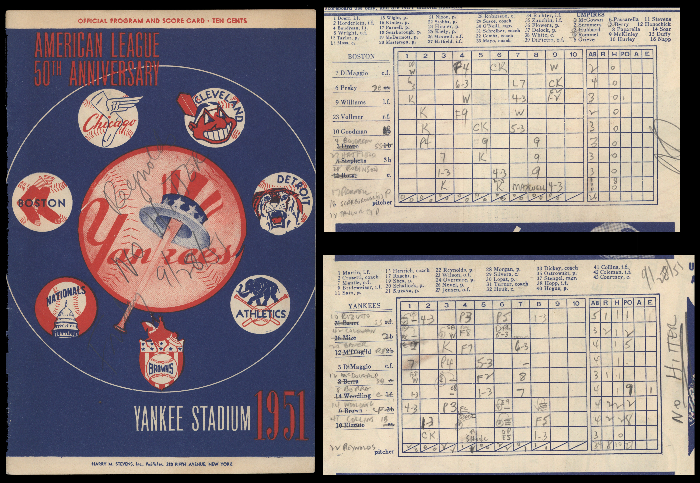 1951 Allie Reynold No-Hitter Program Scorecard
