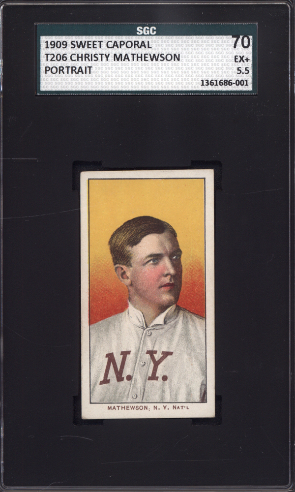 T206 Christy Mathewson Portrait New York SGC 70 Sweet Caporal Back Well Centered