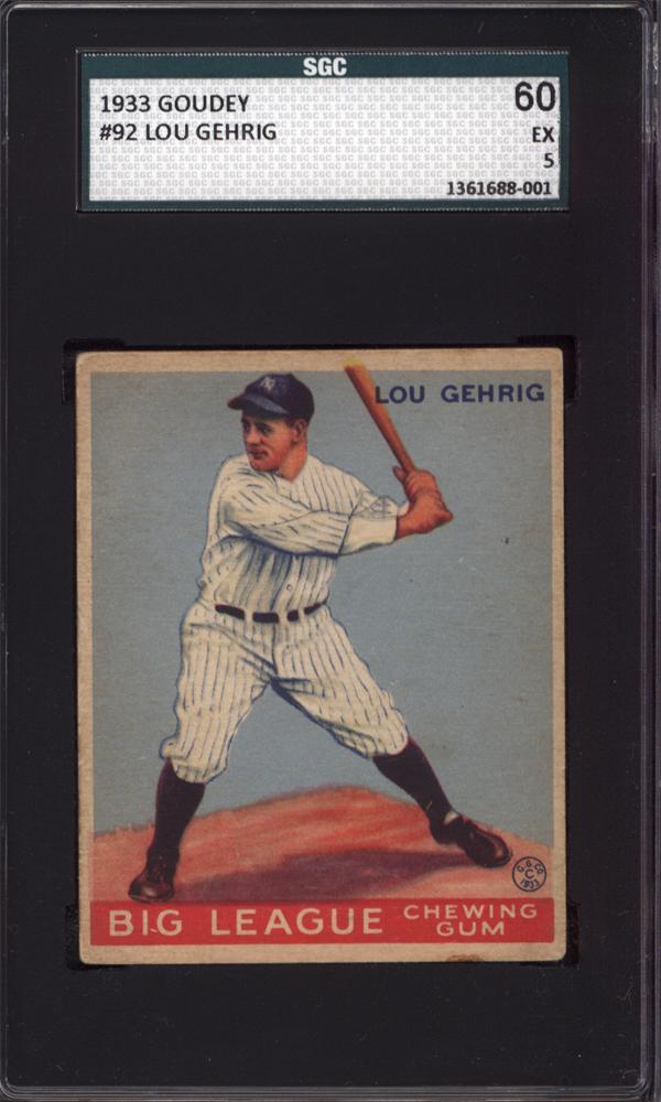 1933 Goudey #92 Lou Gehrig SGC 60