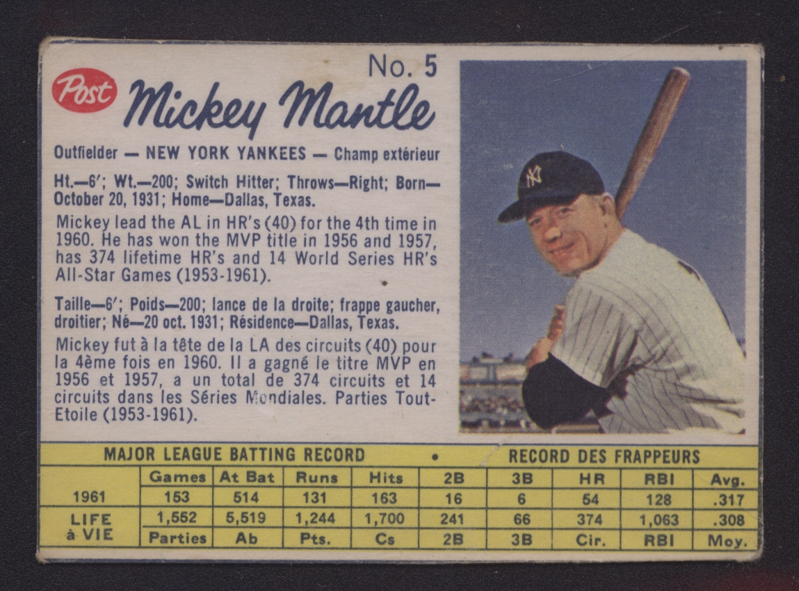 1962 Canadian Post Cereal Mickey Mantle Yankees